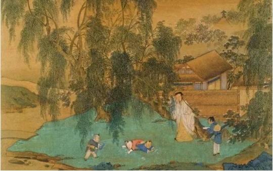 名家画中的杨柳,柳条依依柳叶青